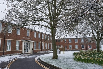 Harwell innovation centre on a snowy day