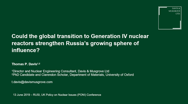 Could the global transition to generation IV nuclear reactors strengthen Russia's growing sphere of influence